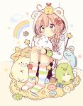 1girl absurdres ahoge animal animal_ears animal_hood bird blue_bow blue_eyes blush bow braid brown_eyes cat closed_mouth clouds commentary_request dress fake_animal_ears floral_background grey_background hair_bow hair_over_shoulder heart heterochromia highres hood hood_up knees_up light_smile long_hair long_sleeves no_shoes original pink_hair rainbow red_bow sakura_oriko sitting socks solo star striped striped_legwear white_dress