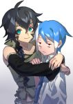 2boys ahoge aqua_eyes bare_shoulders black_bow black_hair blue_hair blue_neckwear bow braid closed_mouth collarbone detached_sleeves fingernails gradient gradient_background green_nails hair_between_eyes hug keine_ron long_hair male_focus matsudappoiyo multicolored multicolored_hair multiple_boys necktie rabbit_monster red_eyes smile tired utau white_hair