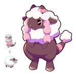 :3 artsy-rc commentary english_commentary flaaffy fusion gen_2_pokemon gen_8_pokemon highres no_humans plus_sign pokemon pokemon_(creature) signature simple_background solo standing white_background wooloo