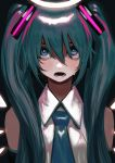 1girl aqua_eyes aqua_hair aqua_neckwear arms_at_sides bangs bare_shoulders black_background blush bukimi_isan collared_shirt commentary crying crying_with_eyes_open detached_sleeves detached_wings electric_angel_(vocaloid) hair_over_eyes halo hatsune_miku headset highres lips long_hair multicolored multicolored_eyes necktie open_mouth shirt sidelocks sleeveless sleeveless_shirt solo tears teeth twintails upper_body very_long_hair vocaloid white_shirt white_wings wings