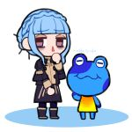 1girl 1other animal animal_crossing atsumare:_doubutsu_no_mori blue_hair blue_legwear boots braid brown_eyes closed_mouth crossover crown_braid do_m_kaeru doubutsu_no_mori doubutsu_no_mori_(game) doubutsu_no_mori_e+ fire_emblem fire_emblem:_fuukasetsugetsu fire_emblem:_three_houses fire_emblem_16 frog garreg_mach_monastery_uniform human intelligent_systems jeremiah_(animal_crossing) long_sleeves marianne_von_edmund nintendo nintendo_ead quattro_(doubutsu_no_mori) simple_background super_smash_bros. uniform white_background