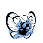 antennae blue_theme bug butterfly butterfree commentary creature english_commentary fangs full_body gen_1_pokemon insect no_humans pokemon pokemon_(creature) rumwik signature simple_background solo white_background