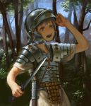 1girl absurdres breastplate cowboy_shot day forest gladius grey_hair hand_up highres holding holding_sword holding_weapon legionnaire nature open_mouth original outdoors plate_armor roman_clothes roman_empire scabbard sheath shoulder_armor solo spaulders standing sword toga tree treeware unsheathed violet_eyes weapon