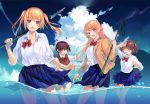 4girls :d ;d ahoge amatani_mutsu blazer blonde_hair blue_eyes blue_skirt bow bowtie brown_eyes clouds day fang glasses green_eyes jacket kujou_shion long_hair looking_at_viewer miniskirt multiple_girls ocean official_art one_eye_closed onishima_homare open_mouth outstretched_arms pleated_skirt polearm red-framed_eyewear red_bow red_neckwear sagaraise school_uniform shirt short_hair skirt sky sleeves_rolled_up smile sounan_desuka? spear splashing suzumori_asuka sweater_vest twintails undone_bowtie violet_eyes wading water weapon wet wet_clothes wet_skirt white_shirt