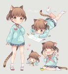 1girl :o ^_^ absurdres animal_ears arm_at_side babywearing bangs bell bloomers blue_shirt bobby_socks bow brown_eyes brown_hair cat_ears cat_girl cat_tail character_name chibi child child_drawing choker closed_eyes collared_shirt crayon drawing eating facing_viewer fang food grey_skirt happy highres holding holding_crayon holding_spoon jingle_bell kindergarten_uniform leaf leg_up legs_apart long_sleeves looking_afar looking_away looking_down lying multiple_views no_shoes on_stomach open_mouth original paper paw_print pink_ribbon pinky_out plaid plaid_skirt playing_games pleated_skirt print_legwear pudding ribbon ribbon_choker senmen_kinuko shirt shoes simple_background sitting skirt sleeves_past_wrists socks spoon standing striped stuffed_animal stuffed_cat stuffed_toy tail twintails underwear uwabaki wariza white_legwear