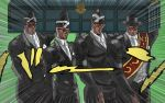 4boys alternate_costume alternate_skin_color carrying carrying_over_shoulder coffin collared_shirt dark_skin expressionless formal hat highres jojo_no_kimyou_na_bouken joseph_joestar kakyouin_noriaki kuujou_joutarou meme mine mohammed_avdol multiple_boys muscle necktie shirt stardust_crusaders suit sunglasses