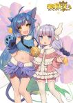 2girls :d :o acidear ahoge animal_ears bare_legs bare_shoulders bell blue_eyes blue_hair blue_shirt breasts capelet cat_ears cat_girl cat_tail crop_top dragon_horns facial_mark fang feather_skirt frills fur_collar gloves gradient_hair hair_bobbles hair_ornament highres horns jingle_bell kanna_kamui kardia_tou_abel kobayashi-san_chi_no_maidragon large_breasts long_hair looking_at_viewer midriff miniskirt multicolored_hair multiple_girls navel open_mouth paw_gloves paws ribbed_shirt shirt side-by-side silver_hair skirt sleeveless sleeveless_shirt smile stomach tail thigh-highs very_long_hair watermark white_legwear white_skirt yellow_eyes zettai_ryouiki