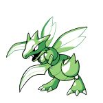 black_eyes claws commentary creature english_commentary fangs full_body gen_1_pokemon green_theme no_humans pokemon pokemon_(creature) rumwik scyther signature simple_background solo standing white_background