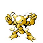 alakazam claws commentary creature english_commentary facial_hair full_body gen_1_pokemon holding holding_spoon legs_apart mustache no_humans pokemon pokemon_(creature) rumwik signature simple_background solo spoon standing white_background
