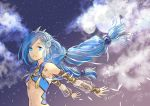1girl :d aga3 armpits arms_behind_back bangs blue_eyes blue_hair breasts clouds dana_(ys) detached_sleeves diadem eyebrows_visible_through_hair floating_hair full_moon hair_ribbon long_hair long_sleeves looking_at_viewer moon multiple_moons open_mouth outdoors outstretched_arms ribbon see-through shiny shiny_hair sky small_breasts smile solo star_(sky) starry_sky swept_bangs twintails twitter_username under_boob very_long_hair white_ribbon ys ys_viii_lacrimosa_of_dana