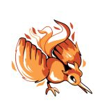bird bird_focus commentary creature english_commentary full_body gen_1_pokemon legendary_pokemon moltres no_humans pokemon pokemon_(creature) rumwik signature simple_background solo white_background
