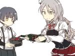 2girls alcohol arare_(kantai_collection) arm_warmers bangs bottle breasts brown_footwear commentary_request eyebrows_visible_through_hair grey_hair grey_skirt hat holding holding_bottle holding_hat kantai_collection long_hair long_sleeves multiple_girls no_mouth pola_(kantai_collection) pouring red_skirt satsumi shirt short_hair short_sleeves simple_background skirt smile suspender_skirt suspenders white_background white_shirt wine wine_bottle