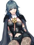 1girl armor black_shorts blue_eyes blue_hair byleth_(fire_emblem) byleth_(fire_emblem)_(female) byleth_eisner_(female) cape closed_mouth cute female_my_unit_(fire_emblem:_fuukasetsugetsu) fire_emblem fire_emblem:_fuukasetsugetsu fire_emblem:_three_houses fire_emblem_16 hot_dog_fe intelligent_systems my_unit_(fire_emblem:_fuukasetsugetsu) navel_cutout nintendo pantyhose parted_lips short_shorts shorts simple_background smile solo white_background