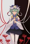 absurdres asymmetrical_hair black_skirt blouse bow enma_(mythology) flower green_eyes green_hair highres long_sleeves looking_at_viewer red_ribbon ribbon rod_of_remorse shiki_eiki skirt spider_lily thigh-highs touhou two-tone_background vest white_ribbon wide_sleeves yongzhe_mei_hong