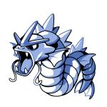 blue_theme commentary creature english_commentary fangs full_body gen_1_pokemon gyarados no_humans pokemon pokemon_(creature) rumwik signature simple_background solo white_background