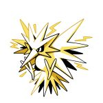 bird bird_focus black_eyes commentary creature electricity english_commentary flying full_body gen_1_pokemon no_humans pokemon pokemon_(creature) rumwik signature simple_background solo white_background yellow_theme zapdos