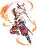 1girl animal_ear_fluff animal_ears boots dual_wielding fang fingerless_gloves fire full_body gloves high_ponytail holding holding_sword holding_weapon katana long_hair looking_at_viewer open_mouth orange_eyes sheath silver_hair solo sword tail transparent_background wakizashi weapon