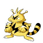 black_eyes clenched_hands commentary creature electabuzz english_commentary fangs full_body gen_1_pokemon legs_apart monochrome no_humans pokemon pokemon_(creature) pokemon_(game) pokemon_rgby pokemon_rgby_(style) rumwik signature simple_background smirk solo standing white_background yellow_theme