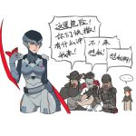... 2girls 3boys alternate_costume arm_blade assassin_(overwatch) beanie beret blackwatch_(overwatch) blackwatch_genji blackwatch_mccree blackwatch_moira blackwatch_reyes blue_eyes cowboy_hat cropped_legs cyborg genji_(overwatch) hat helmet mask mask_removed mccree_(overwatch) moira mole mole_under_mouth multiple_boys multiple_girls overwatch poncho power_suit reaper_(overwatch) scar squidsmith translation_request weapon younger