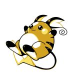 closed_mouth commentary creature english_commentary full_body gen_1_pokemon jumping no_humans pokemon pokemon_(creature) raichu rumwik signature simple_background smile solo white_background