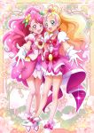 2girls :d aqua_eyes blonde_hair commentary_request cure_flora cure_grace eyebrows_visible_through_hair full_body gloves go!_princess_precure hanadera_nodoka hanzou haruno_haruka healin'_good_precure heart highres long_hair looking_at_viewer magical_girl multicolored_hair multiple_girls open_mouth pink_eyes pink_hair precure smile standing streaked_hair white_gloves