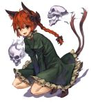 1girl ahoge animal_ears bangs black_bow black_ribbon blush bow braid cat_ears cat_tail dress extra_ears eyebrows_visible_through_hair fangs frilled_dress frilled_sleeves frills full_body green_dress hair_bow highres hitodama juliet_sleeves kaenbyou_rin long_hair long_sleeves looking_at_viewer multiple_tails nekomata puffy_sleeves red_eyes redhead ribbon simple_background skull tail touhou twin_braids two_tails white_background yanyan_(shinken_gomi)