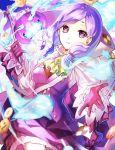 1girl 2sakamoto1 dress fire_emblem fire_emblem:_path_of_radiance fire_emblem_heroes gloves halloween_costume highres holding ilyana_(fire_emblem) long_sleeves parted_lips pink_gloves purple_hair solo twitter_username