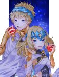 1boy 1girl apple artist_request bangs bare_shoulders black_shirt blonde_hair blue_eyes bracer breasts brother_and_sister castor_(fate/grand_order) collar diadem fate/grand_order fate_(series) food fruit highres looking_at_viewer medium_hair metal_collar night night_sky open_mouth pollux_(fate/grand_order) shirt short_hair siblings sky small_breasts smile star_(sky) twins white_robe