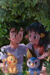 1boy 1girl bangs bird bird_on_lap black_hair brown_eyes commentary_request creature day ek_gogogo eye_contact gen_1_pokemon gen_4_pokemon highres hikari_(pokemon) korean_commentary long_hair looking_at_another on_lap outdoors pokemon pokemon_(anime) pokemon_(creature) pokemon_dppt_(anime) pokemon_on_lap poketch rain red_scarf satoshi_(pokemon) scarf shirt short_sleeves spiky_hair watch watch white_shirt
