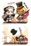 2girls alternate_costume arknights blonde_hair english_text fleeing hat headless horns jack-o'-lantern kroos_(arknights) multiple_girls nightingale_(arknights) phandit_thirathon scared top_hat