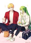 2boys :d androgynous bag black_pants blonde_hair blue_pants brown_footwear casual coat crossed_legs ede enkidu_(fate/strange_fake) fate/strange_fake fate_(series) food full_body gilgamesh green_eyes green_hair highres holding holding_food hood hood_down hooded_sweater long_hair long_sleeves multiple_boys open_mouth pants ponytail red_coat red_eyes sandwich school_bag shiny shiny_hair shoes sidelocks simple_background sitting smile sneakers sweater very_long_hair white_background white_footwear white_sweater