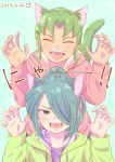 2boys absurdres blue_hair blush brown_eyes cat_day claw_pose dated green_hair hair_over_one_eye highres hood hoodie inazuma_eleven inazuma_eleven_(series) kazemaru_ichirouta long_hair looking_at_viewer midorikawa_ryuuji multiple_boys open_mouth ponytail smile yoi_(207342)