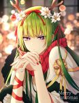 1boy androgynous antlers arm_ribbon bangs blurry blurry_background closed_mouth ede enkidu_(fate/strange_fake) fate/strange_fake fate_(series) flower frown green_hair green_nails hair_flower hair_ornament hair_ribbon highres long_hair looking_at_viewer merry_christmas multicolored multicolored_nails nail_polish otoko_no_ko plaid plaid_scarf red_nails red_ribbon red_scarf reindeer_antlers ribbon scarf shiny shiny_hair solo twitter_username very_long_hair violet_eyes white_flower yellow_ribbon