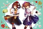 2girls apron back-to-back black_legwear black_neckwear black_skirt blush brown_hair cake checkered checkered_skirt commentary dango dessert feet_out_of_frame food green_background hand_up hat highres himekaidou_hatate holding holding_food holding_plate leaf_print long_hair looking_at_viewer multiple_girls neck_ribbon open_mouth plate pointy_ears pom_pom_(clothes) purple_headwear pyonsuke_(pyon2_mfg) ribbon shameimaru_aya shirt short_hair short_sleeves skirt smile socks sweets swiss_roll tokin_hat touhou twintails wagashi white_shirt