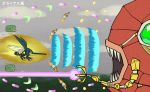 charjabug creature energy_beam flying gen_7_pokemon gradius grubbin magikarp no_humans parody pokemon pokemon_(creature) robot shiwo_(siwosi) translation_request vikavolt