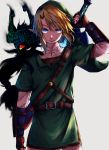 1boy 1girl absurdres aura blonde_hair blue_eyes commentary_request dark_aura fingerless_gloves gloves green_tunic grey_background hat hetarekko highres imp link master_sword midna pointy_ears red_eyes simple_background sword the_legend_of_zelda the_legend_of_zelda:_twilight_princess weapon yellow_sclera