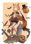 1girl absurdres ahoge animal_ears animal_print arknights arrow bandage_over_one_eye bandaged_arm bandages bat black_cloak black_footwear black_headwear black_skirt blonde_hair bow_(weapon) braid brown_legwear bunny_print bunny_tail cloak closed_eyes collared_shirt commentary crescent_print cross crossbow flat_chest full_body hair_between_eyes hair_ornament halloween halloween_costume hat highres jack-o'-lantern kroos_(arknights) longyu_(17767756) looking_at_viewer medium_hair midriff miniskirt nail nail_polish navel open_clothes open_mouth open_shirt orange_nails orange_shirt pantyhose rabbit_ears romaji_commentary sarashi shiny shiny_clothes shiny_legwear shirt shoes side_braid simple_background skirt skull_hair_ornament smile solo spire striped striped_skirt tail target tombstone top_hat v vertical-striped_skirt vertical_stripes weapon white_background yellow_background