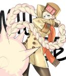 1girl arms_up blonde_hair brown_legwear commentary_request eyebrows_visible_through_hair fingerless_gloves fur_hat gloves green_eyes guilty_gear guilty_gear_strive hat highres long_hair millia_rage orange_scarf pantyhose scarf solo tetsu_(kimuchi) twintails ushanka very_long_hair