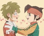 2boys blue_eyes blush brown_eyes brown_hair endou_mamoru eye_contact gloves hands_on_another's_shoulders headband heart highres inazuma_eleven inazuma_eleven_(series) looking_at_another multiple_boys saichuu_(datttebayoo) smile sweat tachimukai_yuuki yaoi