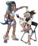 2girls armband armlet barefoot belly_chain black_bodysuit black_hair black_hairband blue_eyeshadow blue_hair bodysuit bodysuit_under_clothes bottle chair closed_eyes clothes_writing dark_skin earrings eyeshadow folding_chair gloves gratin_gratin grey_hair grin gym_leader hair_between_eyes hair_bun hair_ornament hairband hairclip hand_on_hip highres hoop_earrings jewelry long_hair makeup multicolored_hair multiple_girls navel object_on_head outstretched_arm pokemon pokemon_(game) pokemon_swsh rurina_(pokemon) saitou_(pokemon) sandals short_hair short_sleeves shorts simple_background single_glove sitting smile sportswear standing swimsuit tankini two-tone_hair very_long_hair water_bottle white_background