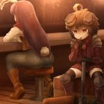 2girls ahoge alternate_costume animal_ears arm_rest bar bar_stool bench boots breastplate brown_footwear brown_hair brown_vest bunny_tail carrot_necklace commentary_request counter denim ear_covers eating facing_away from_behind gauntlets greaves holding holding_hammer inaba_tewi jeans light_particles long_hair long_sleeves looking_to_the_side multiple_girls pants purple_hair rabbit_ears red_eyes reisen_udongein_inaba shirosato shirt short_hair shoulder_armor sitting spaulders stool tail touhou vambraces very_long_hair vest white_shirt wooden_floor