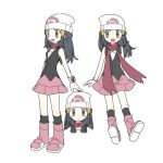 :d beanie black_hair black_legwear boots breasts closed_mouth commentary_request dawnlover_01 face hat hikari_(pokemon) korean_commentary long_hair looking_at_viewer multiple_persona open_mouth pink_footwear pokemon pokemon_(game) pokemon_dppt poketch simple_background small_breasts smile socks standing watch watch white_background white_headwear