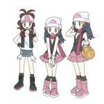 3girls :d bag baseball_cap beanie black_eyes black_footwear boots brown_hair commentary_request dawnlover_01 dual_persona full_body hat hikari_(pokemon) korean_commentary long_hair looking_at_viewer multiple_girls open_mouth pink_footwear pokemon pokemon_(game) pokemon_bw pokemon_dppt scarf shoelaces simple_background smile standing touko_(pokemon) white_background white_headwear