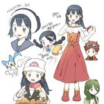 :d beanie commentary_request creature dress flat_chest gen_4_pokemon green_eyes green_hair happy hat highres holding korean_text looking_at_viewer momi_(pokemon) nozomi_(pokemon) open_mouth pachirisu pokemon pokemon_(anime) pokemon_(creature) pokemon_(game) pokemon_dppt pokemon_dppt_(anime) shoes smile standing sunglasses suzuna_(pokemon) translation_request twintails white_headwear