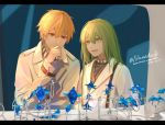 1boy 1other alternate_costume androgynous arm_up artist_name bangs blonde_hair closed_mouth coat collar dated ear_piercing earrings enkidu_(fate/strange_fake) eyebrows_visible_through_hair fate/grand_order fate_(series) gilgamesh green_eyes green_hair grey_coat hair_between_eyes indoors jewelry long_hair long_sleeves looking_at_another looking_down nanako_(user_zcmj5835) necklace neckwear open_mouth otoko_no_ko piercing red_eyes ring standing twitter_username