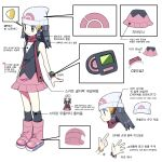 1girl beanie black_eyes black_hair boots breasts commentary_request dawnlover_01 dress face hat heart highres hikari_(pokemon) korean_commentary korean_text long_hair multiple_views pink_footwear pokemon pokemon_(game) pokemon_dppt poketch scarf small_breasts smile standing translation_request watch watch white_headwear
