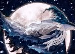 1girl black_background black_dress black_headwear blue_eyes commentary_request dress full_moon grey_neckwear hat isa_yuuri long_hair looking_at_viewer moon night original outdoors smile solo white_hair wind witch witch_hat