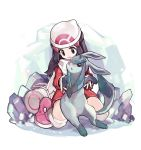 1girl beanie black_eyes black_hair boots creature dress gen_4_pokemon glaceon hat hikari_(pokemon) ice lillin pink_footwear pokemon pokemon_(creature) pokemon_(game) pokemon_dppt pokemon_platinum red_dress scarf white_headwear white_scarf