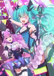 2girls :d ;d absurdres bangs black_sleeves blue_eyes blue_hair detached_sleeves dutch_angle eyebrows_visible_through_hair floating_hair gloves green_eyes hair_between_eyes hatsune_miku highres holding_microphone_stand huge_filesize index_finger_raised layered_skirt long_hair long_sleeves looking_at_viewer magical_mirai_(vocaloid) megurine_luka miniskirt multiple_girls one_eye_closed open_mouth outstretched_arm pink_hair pink_neckwear shiny shiny_hair skirt smile so_ra_01_02 standing striped striped_legwear thigh-highs twintails vertical-striped_legwear vertical_stripes very_long_hair vocaloid white_gloves white_legwear white_neckwear