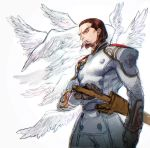 1boy angel_wings belt belt_buckle brown_eyes brown_gloves brown_hair buckle closed_mouth credo devil_may_cry devil_may_cry_4 facial_hair gloves goatee highres male_focus multiple_wings scabbard sheath simple_background sketch solo sutegoro sword uniform weapon white_background wings